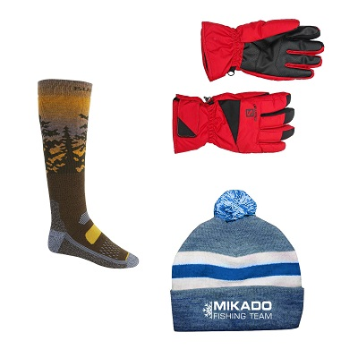 Зимние спортивные шапки, перчатки и носки