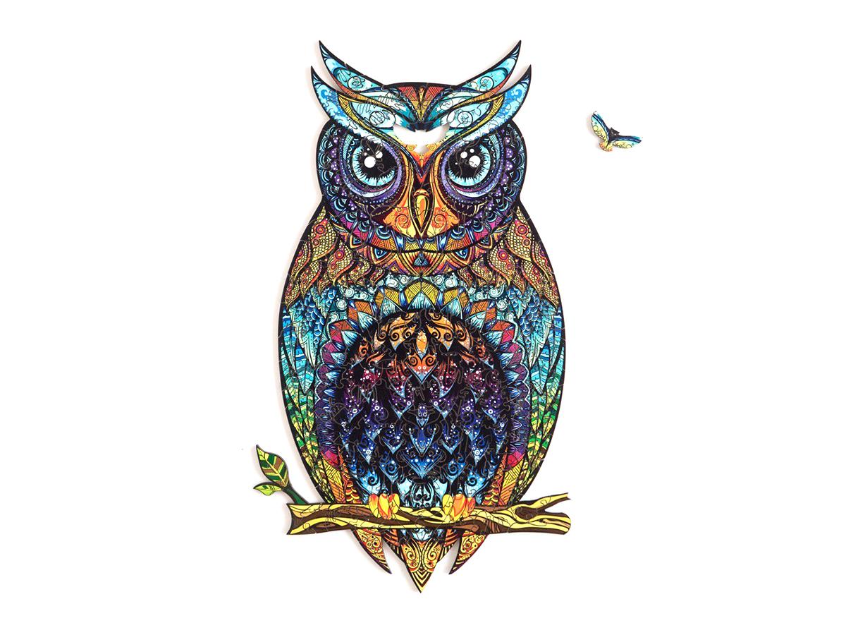 Купить деревянный пазл Unidragon Чарующая сова 35×21 см, 187 деталей, цены в Москве на goods.ru
