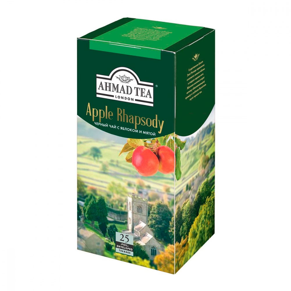 """Купить чай Ahmad """"Apple Rhapsody"""", черный с добавками, 25 пакетиков, цены в Москве на goods.ru"""