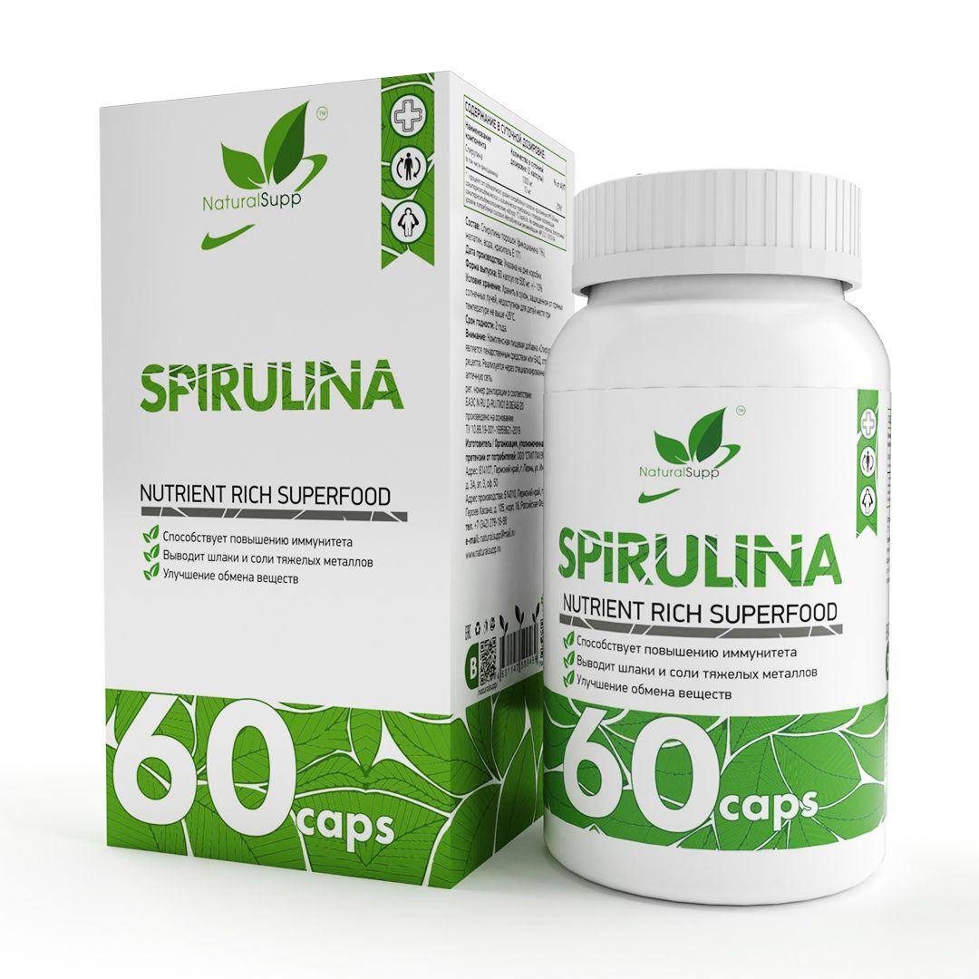 Добавка Спирулина NATURALSUPP Spirulina капсулы 60 шт. - купить в Москве, цены на goods.ru