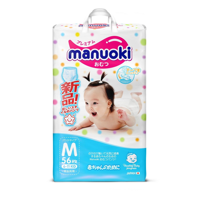 Купить подгузники-трусики Manuoki М (6-11 кг), 56 шт., цены в Москве на goods.ru