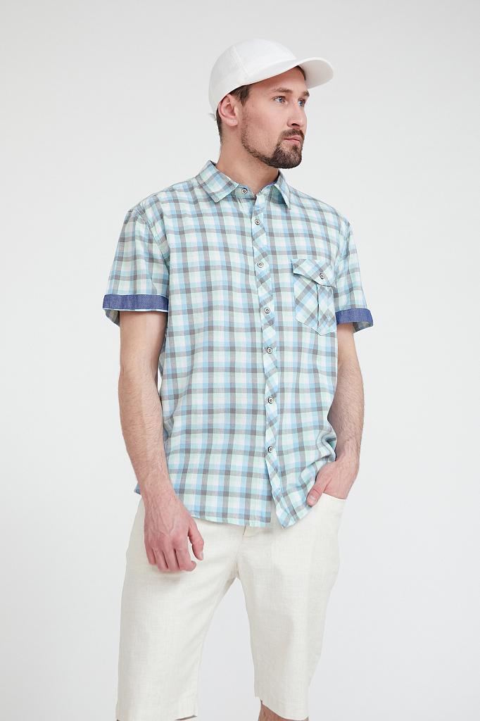 Рубашка мужская Finn Flare S20-22015 зеленая XXL - купить в Москве - sbermegamarket.ru
