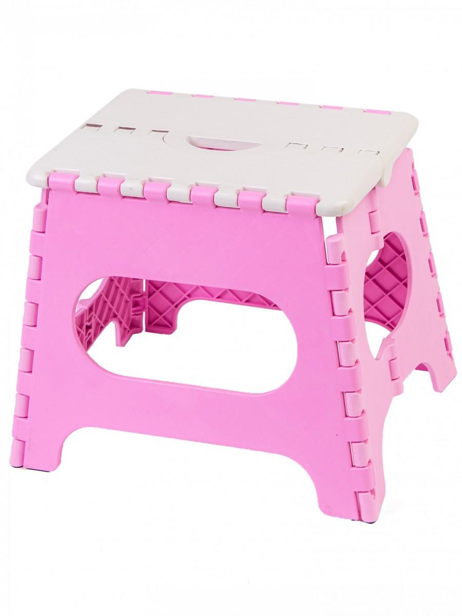 Табурет складной пластиковый средний 100105, белый/розовый, Трикап купить, цены в Москве на goods.ru