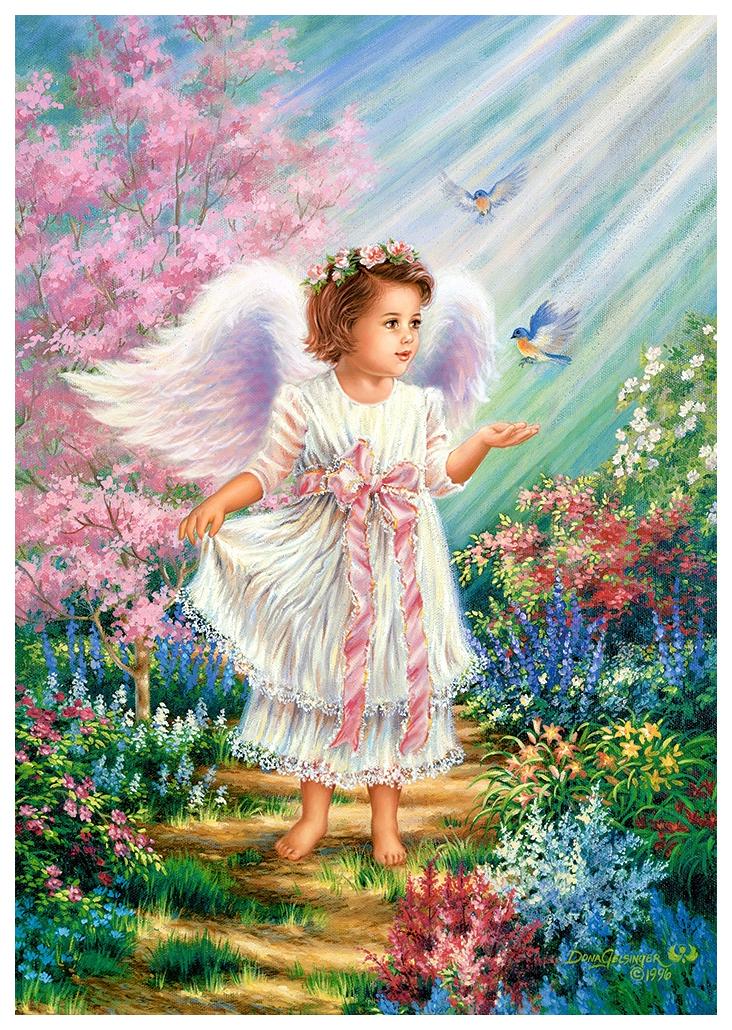 Девушка чашкой, открытка с ангелом хранителем в день рождения