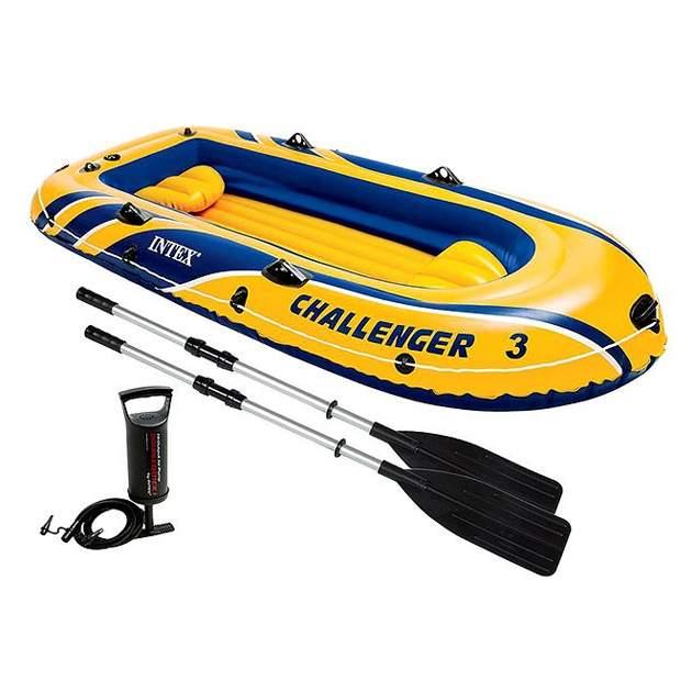 Лодка Intex Challenger 3 Set 2,95 x 1,37 м blue/yellow купить, цены в Москве на goods.ru