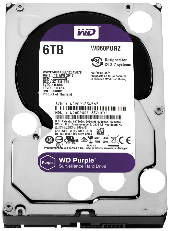 Внутренний жесткий диск Western Digital Purple 6TB (WD60PURZ), купить в Москве, цены в интернет-магазинах на goods.ru