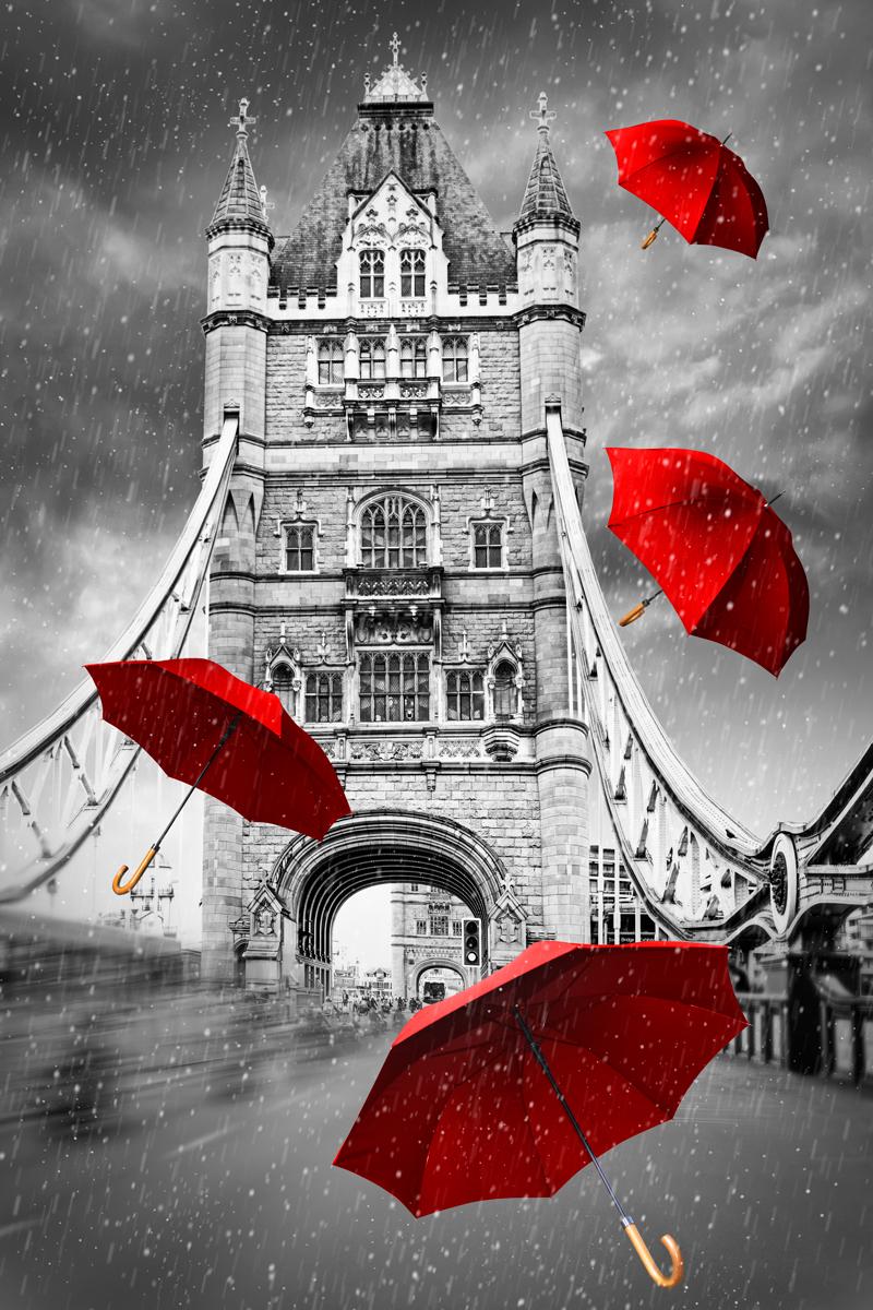 """Картина на холсте 40x60 см """"Тауэрский мост и красные зонтики"""" Ekoramka HE-101-643 купить, цены в Москве на goods.ru"""