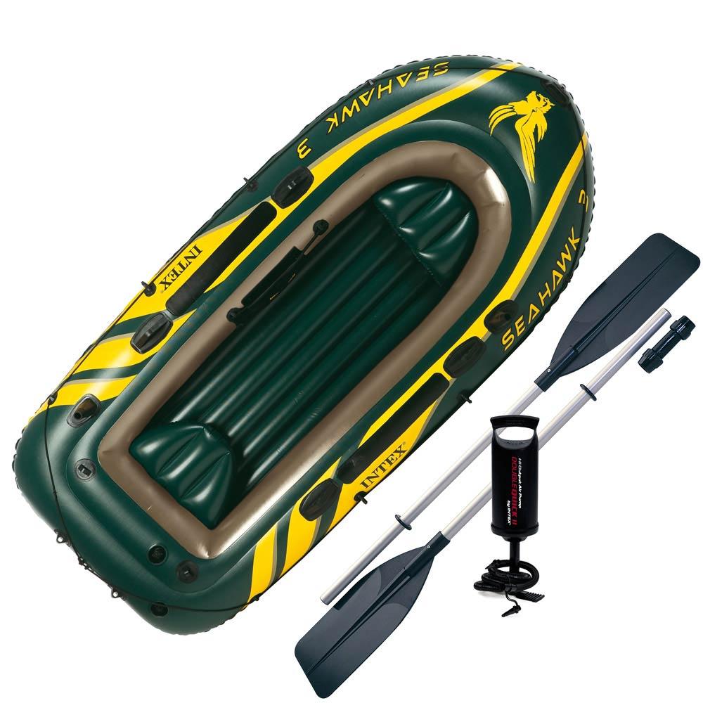 Лодка Intex Seahawk 3 Set 2,95 x 1,37 м green купить, цены в Москве на sbermegamarket.ru