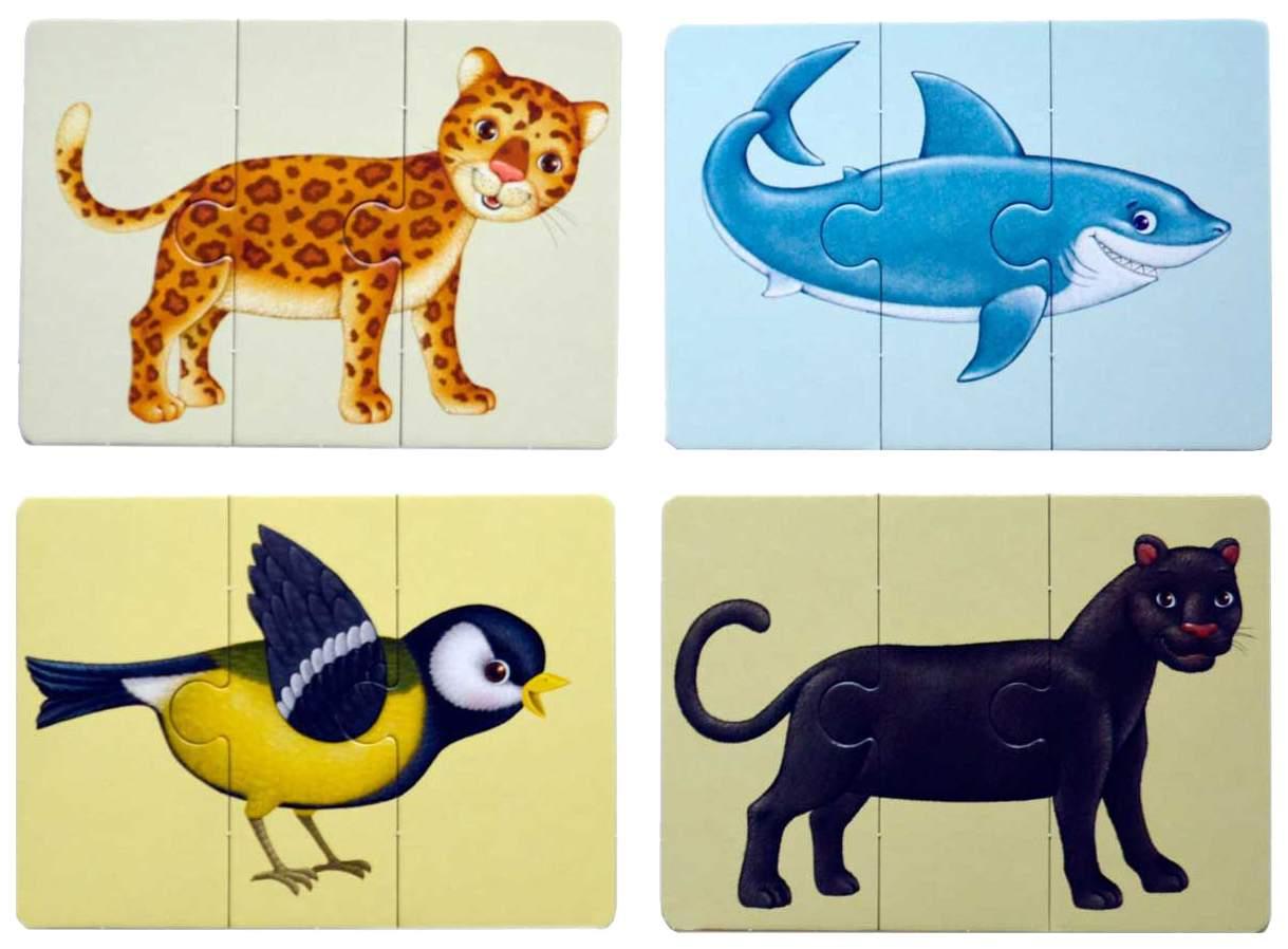 Карточки животных разрезные картинки