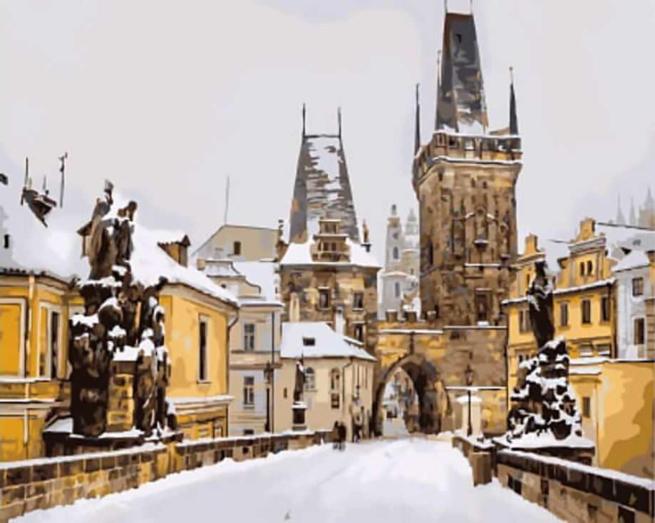 """Купить картина по номерам Цветной """"Карлов мост зимой ..."""