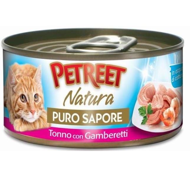 Купить консервы для кошек Petreet Natura, тунец, креветки, морепродукты, кусочки, 70г, цены в Москве на goods.ru