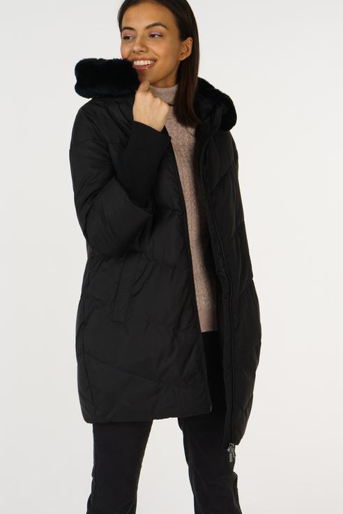 Пуховик-пальто женский Sela CD-126/1060-8452 черный L, купить в Москве, цены в интернет-магазинах на goods.ru