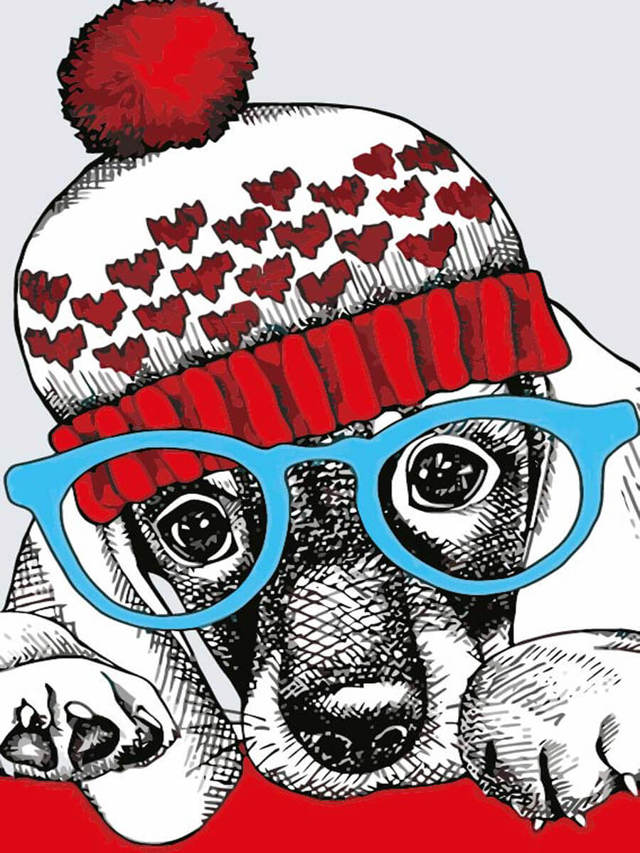 """Купить картина по номерам MC1079 """"Модный пёс"""", цены в ..."""