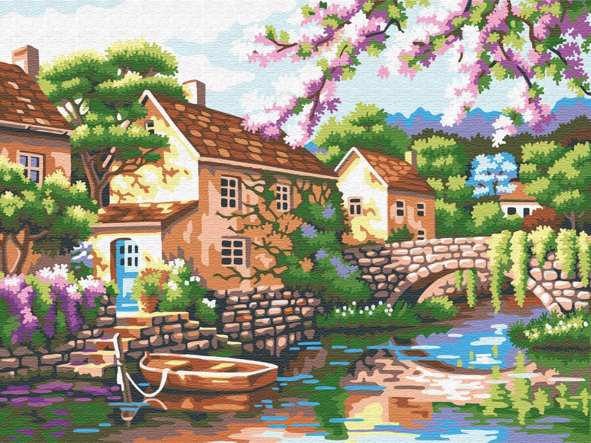 Купить живопись по номерам Цветной Голландская деревушка ...