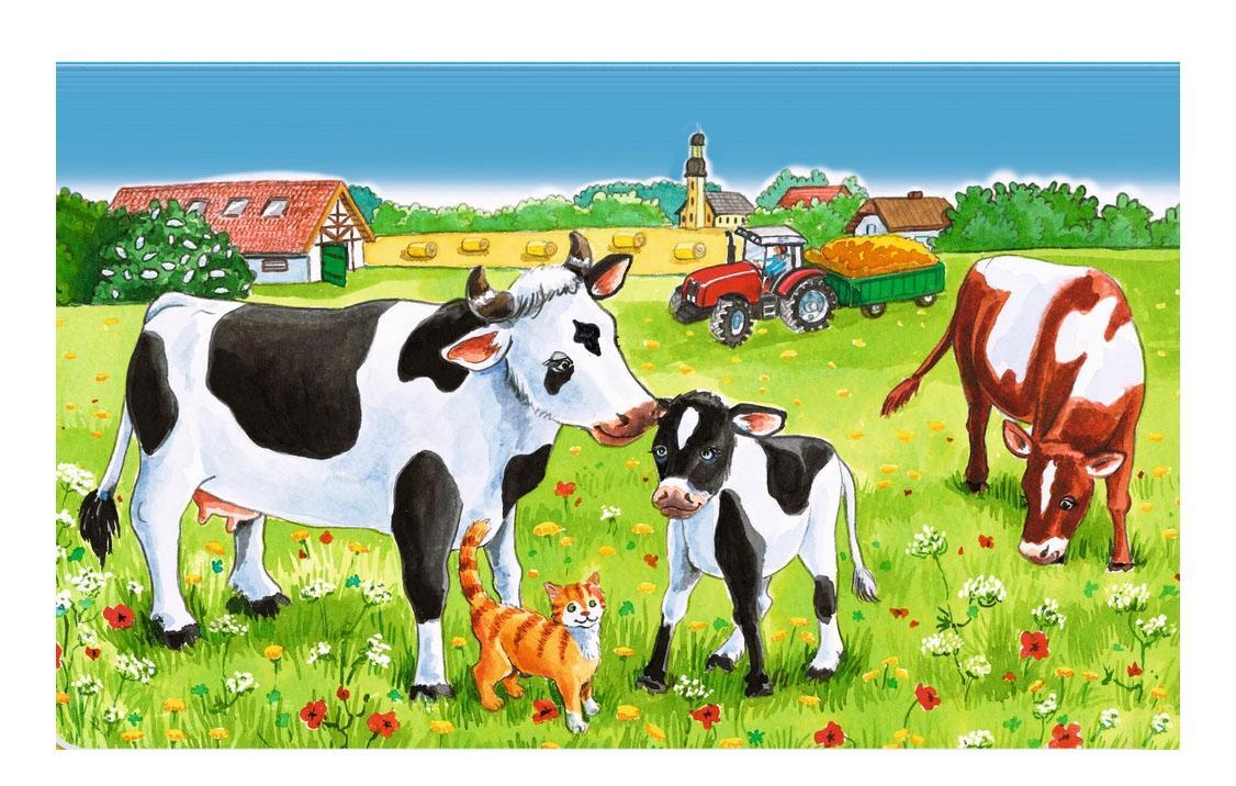 картинки коровы и лошади на лугу сравнении