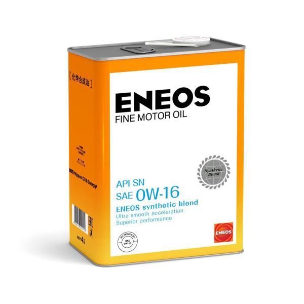 Моторное масло ENEOS FINE MOTOR OIL SN Синтетика 0W-16 4л купить, цены в Москве на sbermegamarket.ru