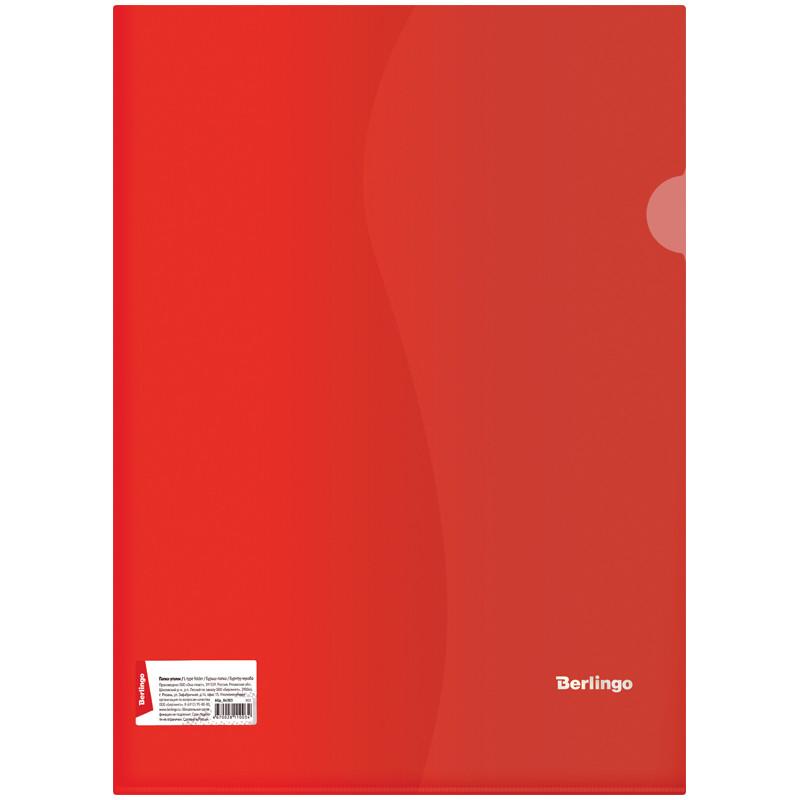 Папка-уголок, А4, 180 мкм, прозрачная красная, штрих-код