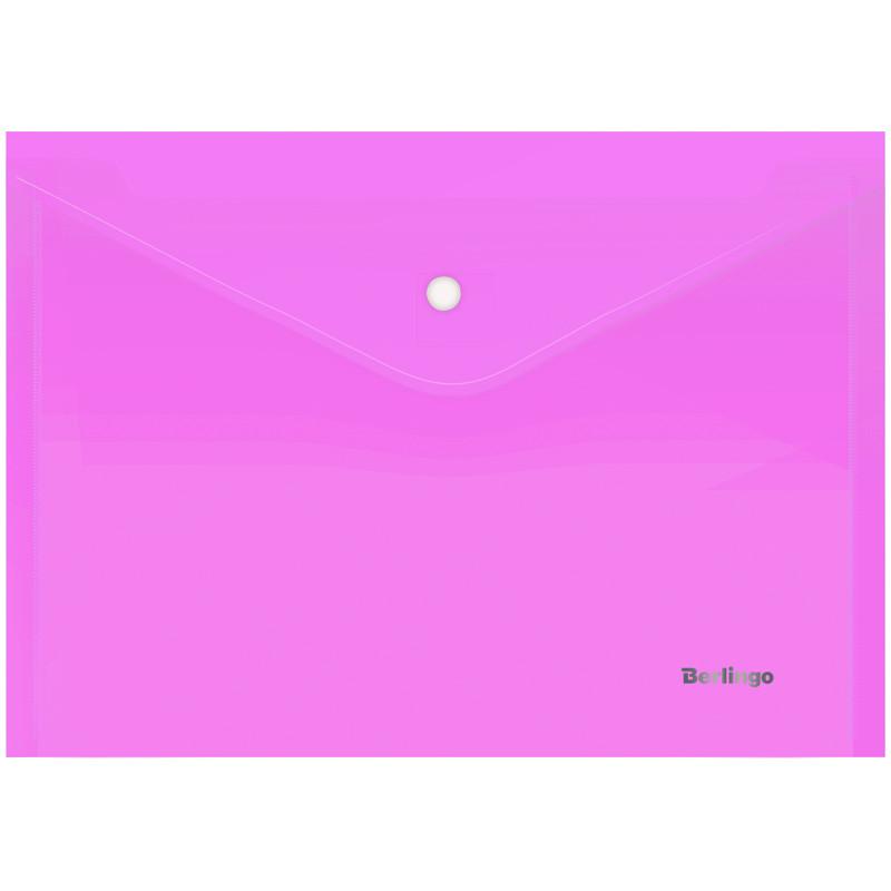 "Папка-конверт на кнопке ""Starlight"", А4, 180 мкм, прозрачная розовая"