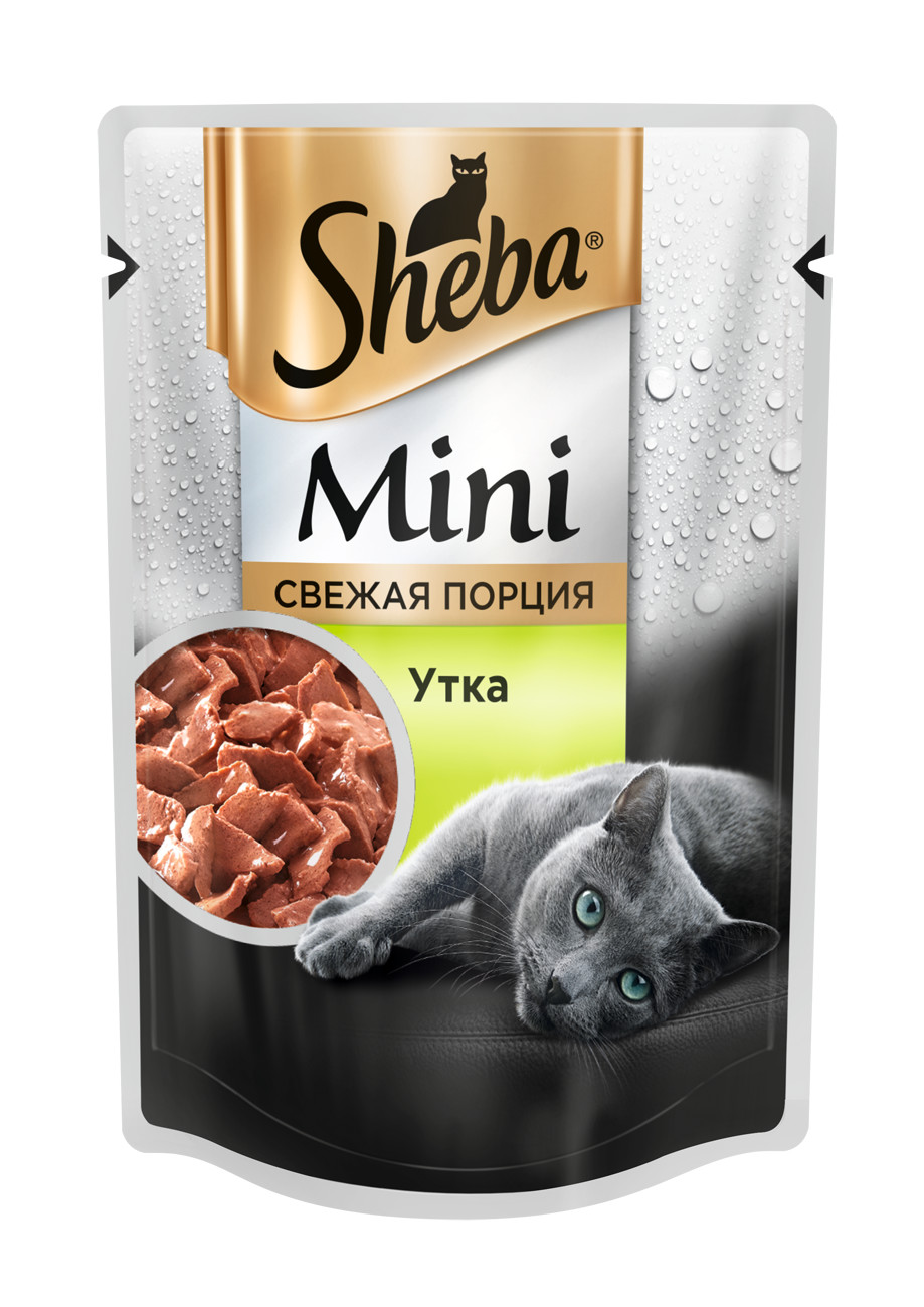 Влажный корм для кошек Sheba Mini, мини порция c уткой, 33 шт по 50г