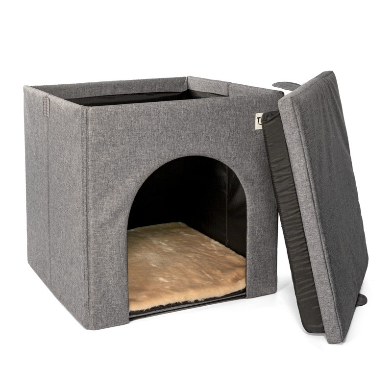 Домик для кошек и собак Triol Оптима, серый, 42x42x42см