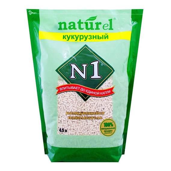 Комкующийся наполнитель для кошек №1 Naturel кукурузный, 3 кг, 4.5 л