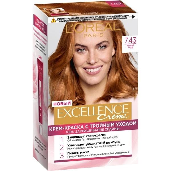 """Миниатюра Крем-краска для волос L'Oreal Excellence стойкая тон 7.43 """"Медный русый"""" №1"""