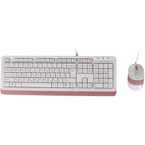 Комплект клавиатура и мышь A4Tech Fstyler F1010 White/Pink