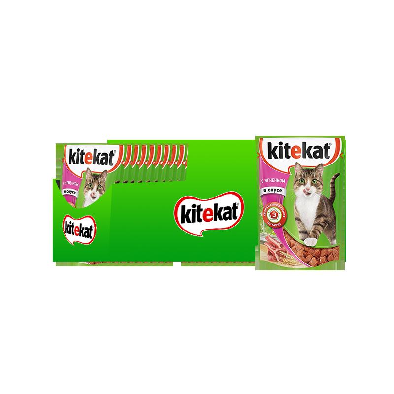 Влажный корм для кошек KiteKat , ягненок, 28шт, 85г