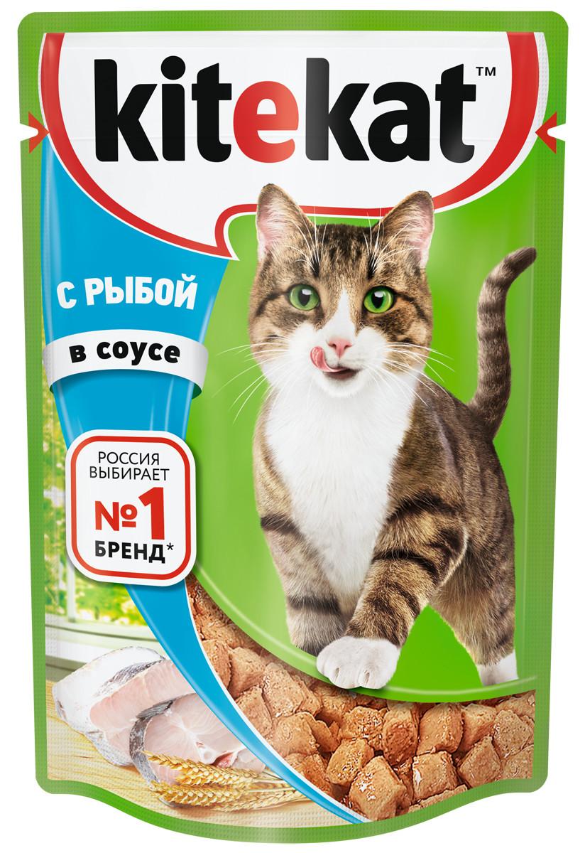Влажный корм для кошек Kitekat, с рыбой в соусе, 28 шт по 85г