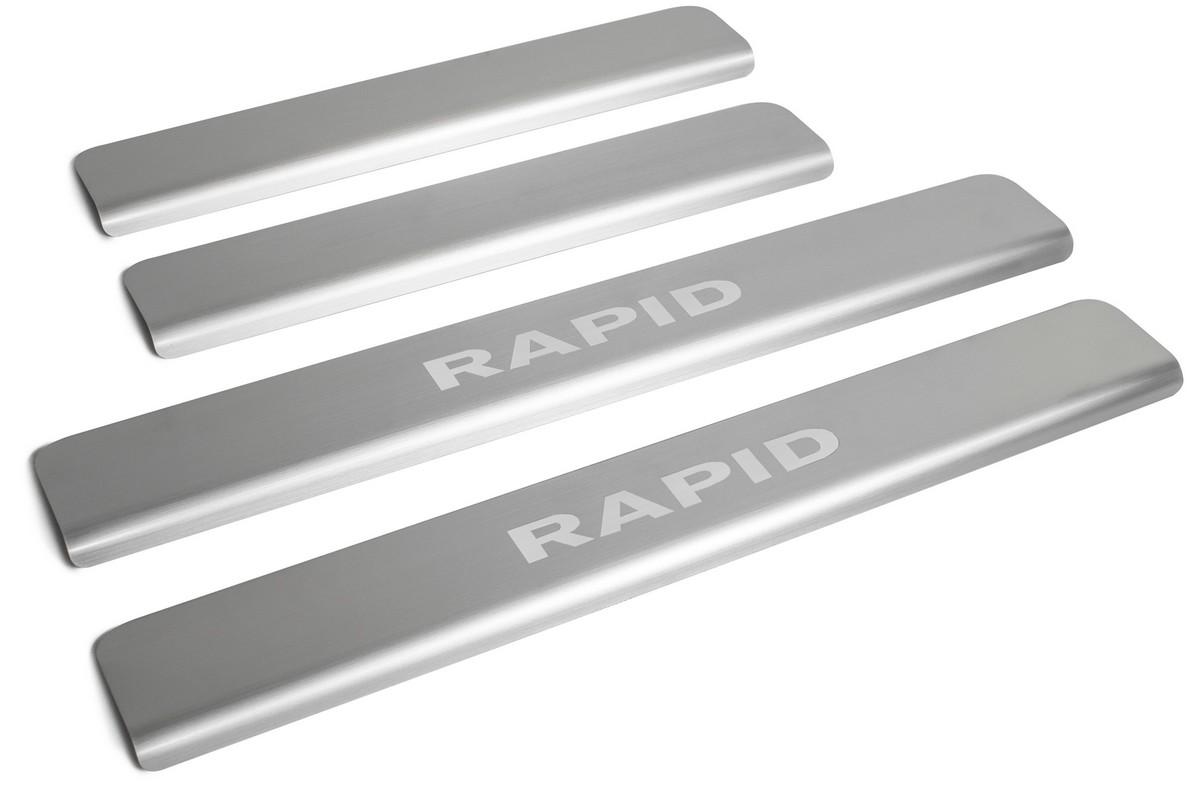 Накладки порогов Rival Skoda Rapid 2012-н.в., нерж. сталь, с надписью, 4 шт., NP.5104.3