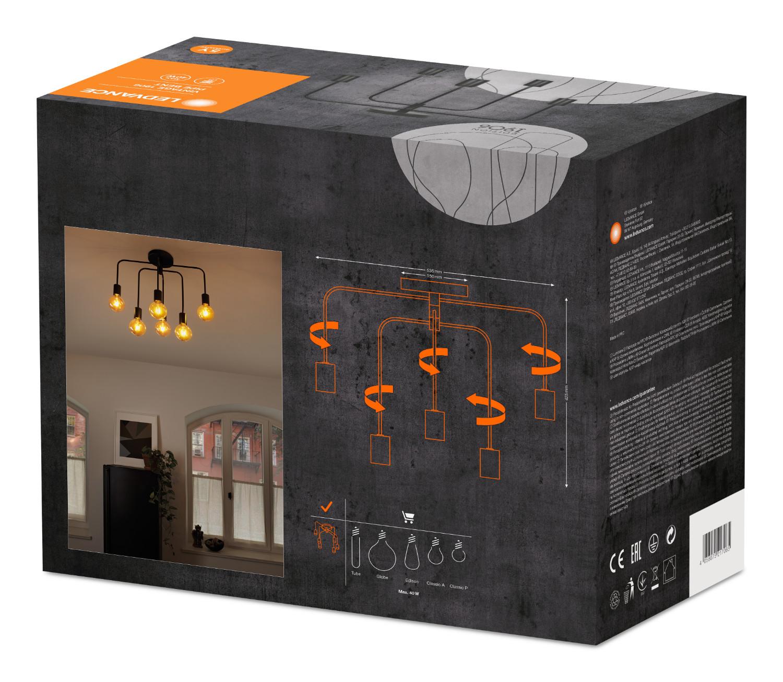 Миниатюра Светильник потолочный серии Винтаж 1906 PIPE BENT 570X300X540 LEDVANCE Черный IPIP 20 №4