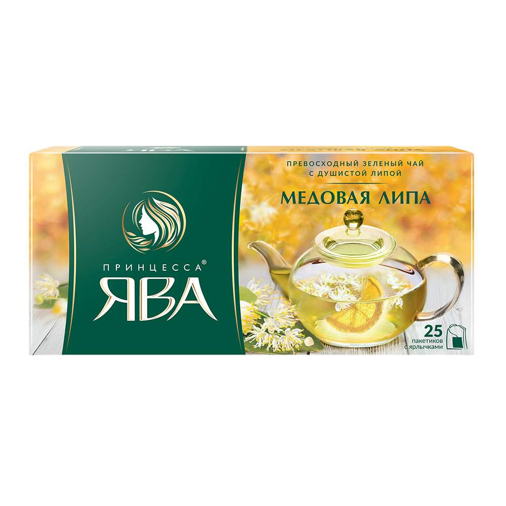 Чай зеленый Принцесса Ява Медовая Липа 25 пакетиков