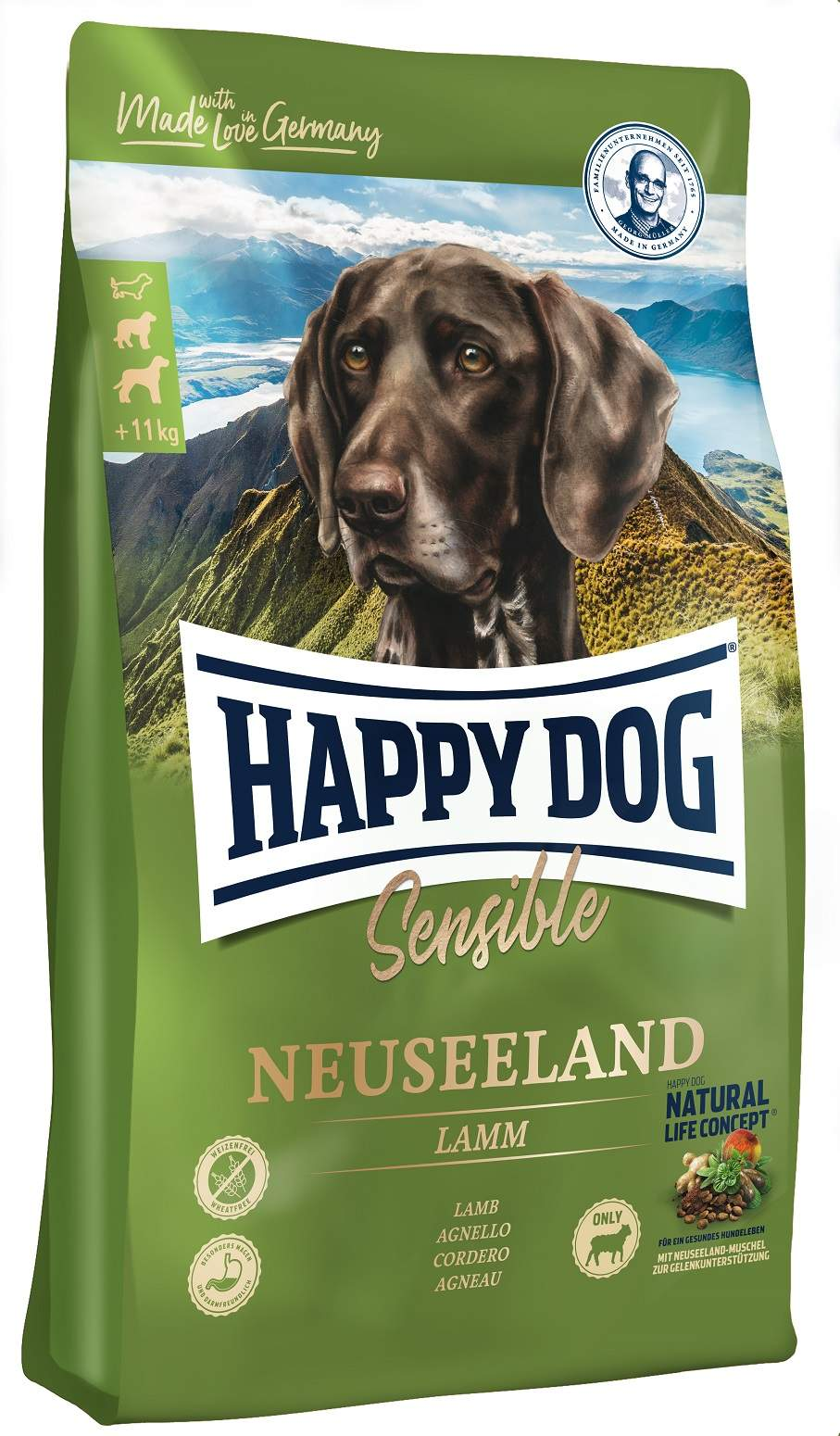 Сухой корм для собак Happy Dog Supreme Sensible Neuseeland, ягненок, рис, 4кг