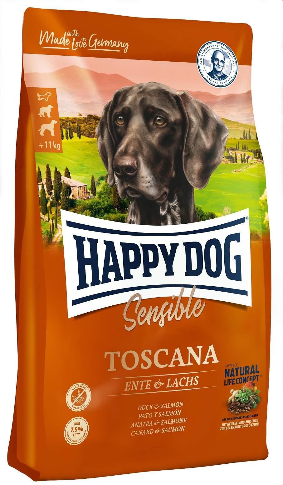 Миниатюра Сухой корм для собак Happy Dog Supreme Sensible Toscana, утка, лосось, 12,5кг №1