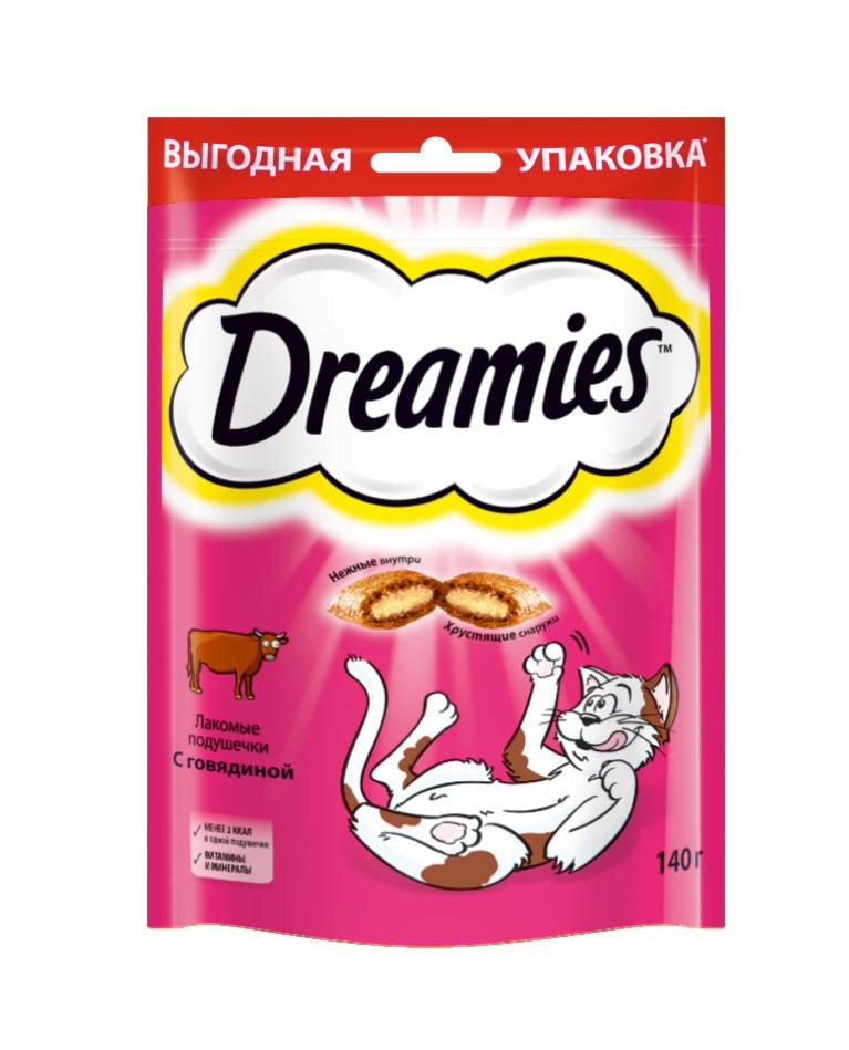 Лакомство для кошек Dreamies, подушечки с говядиной, 140г