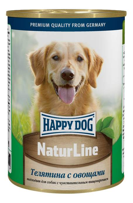 Миниатюра Консервы для собак Happy Dog NaturLine, телятина, овощи, 20шт, 400г №1