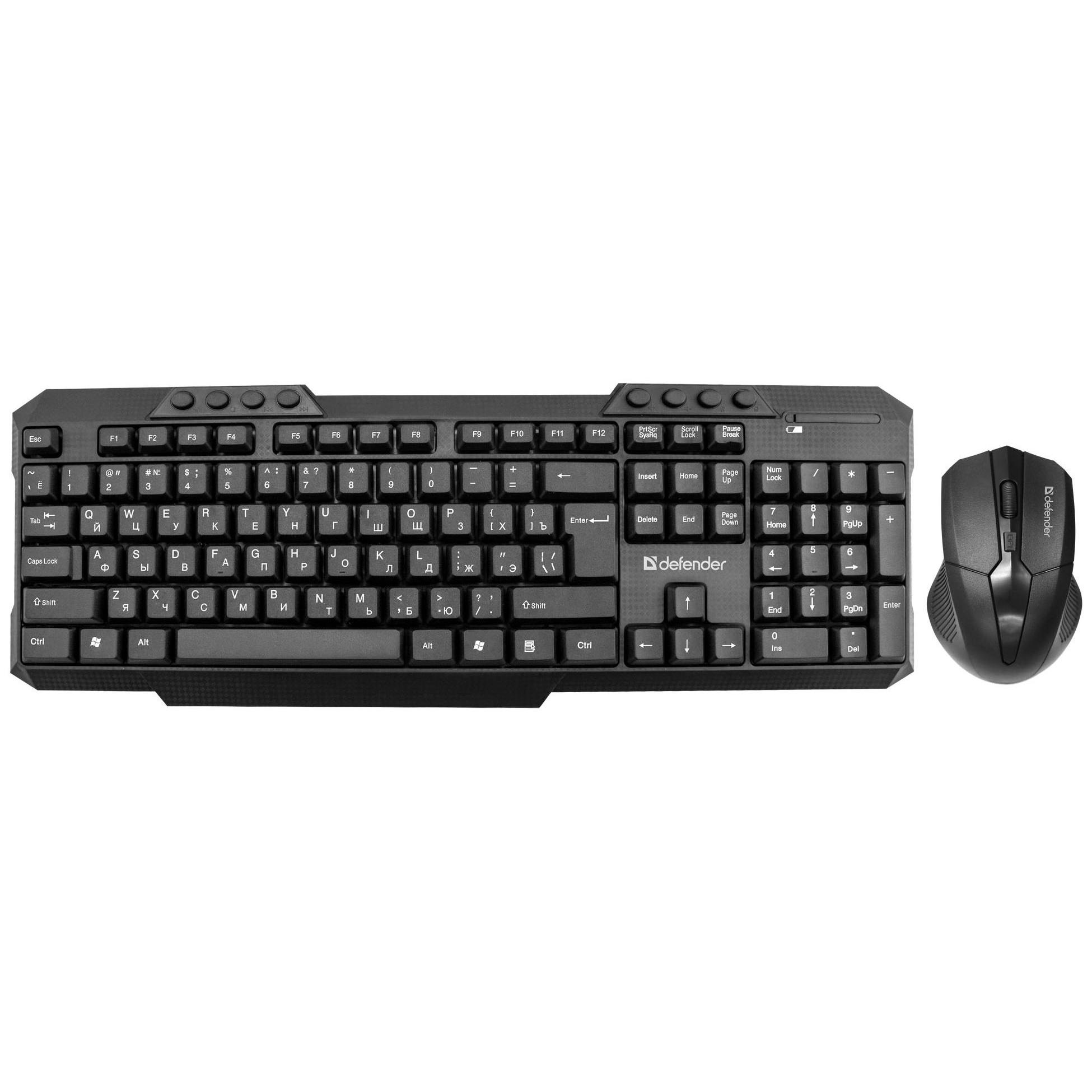 Беспроводная клавиатура и мышь комплект usb Defender Jakarta C-805 черная