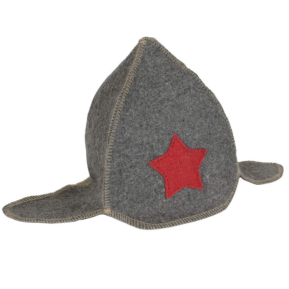 Детская шапка для бани Буденовка (серая) Rusher дш014