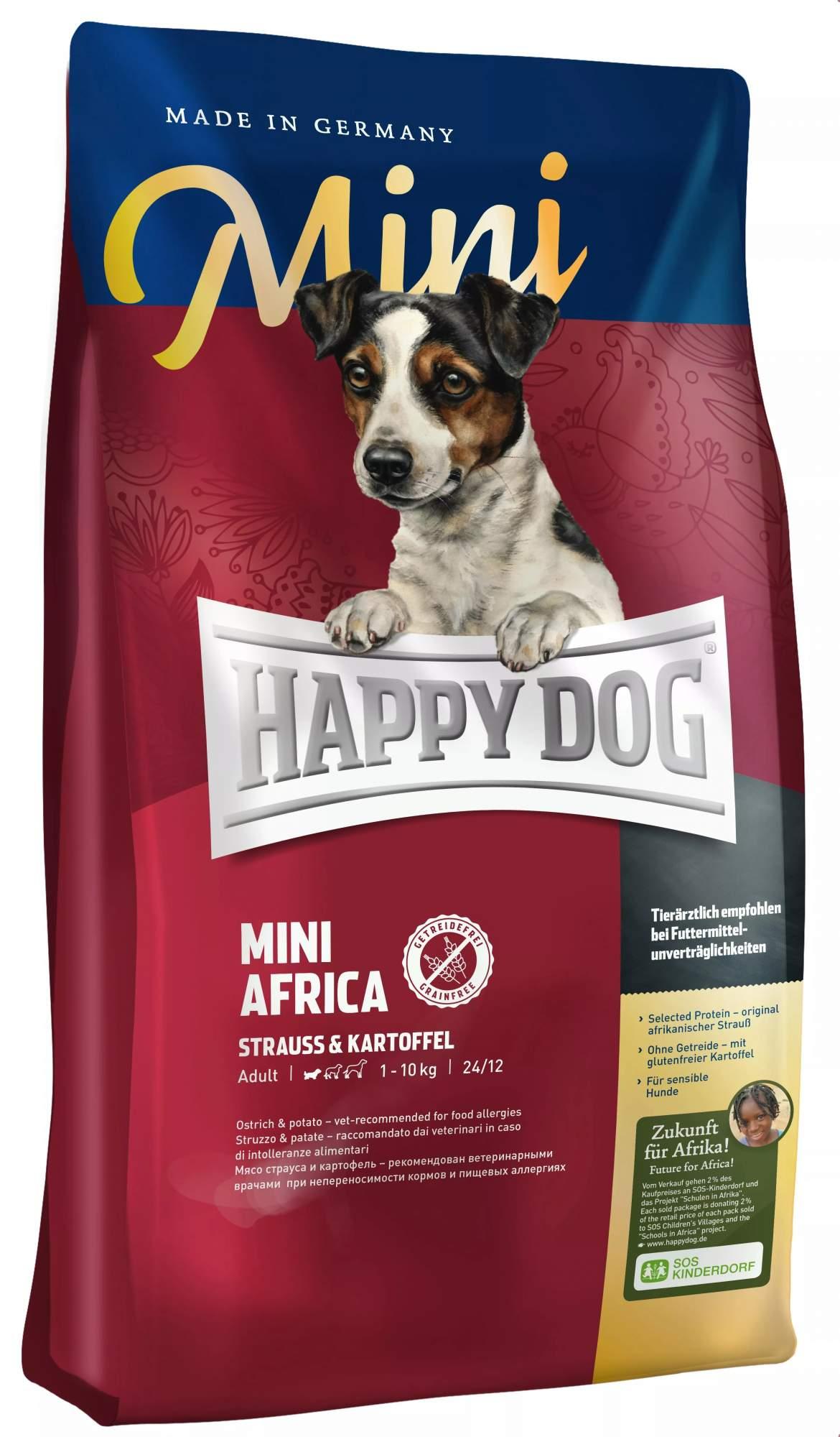 Миниатюра Сухой корм для собак Happy Dog Supreme Mini Africa, для мелких пород, страус,картофель,4кг №1