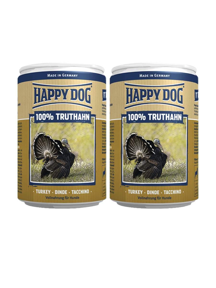 Фотография Консервы для собак Happy Dog 100% Truthahn, индейка, 2шт по 400г №1