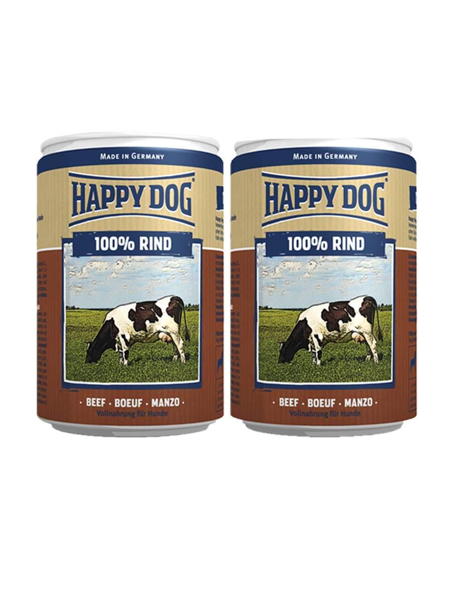 Фотография Консервы для собак Happy Dog 100% Rind, говядина, 2шт по 400г №1