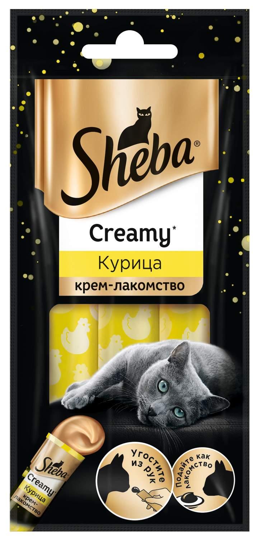 Миниатюра Лакомство для кошек SHEBA Creamy с курицей, 3 шт по 12 г №1