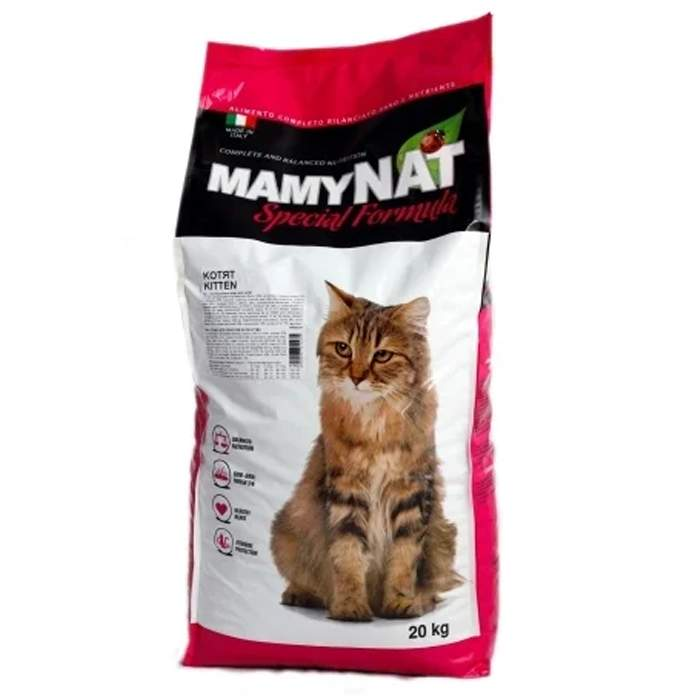 Сухой корм для кошек MamyNAT Cat Kitten для котят, говядина, курица, свинина,  20кг
