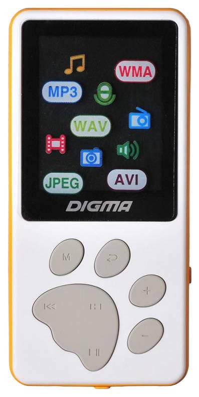 "Плеер Digma S3 4Gb белый/оранжевый/1.8""/FM/microSD"