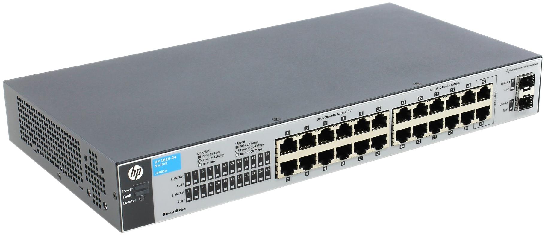 Коммутатор HP OfficeConnect 1810 1810-24 J9801A Серый, черный