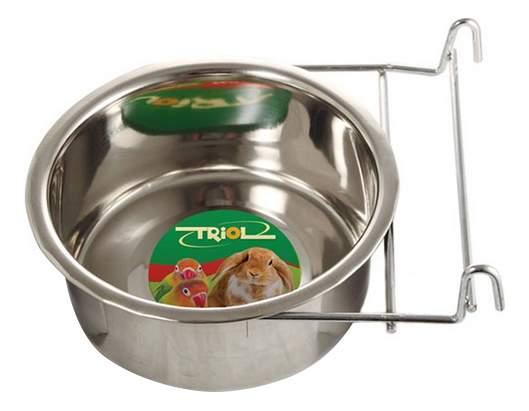 Одинарная миска для грызунов и птиц Triol, сталь, серебристый, 0.55 л