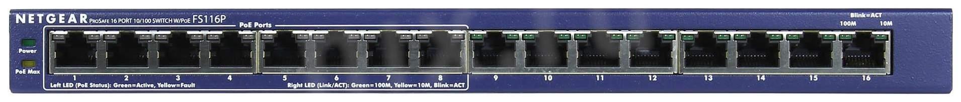 Коммутатор NetGear ProSafe FS116PEU Синий