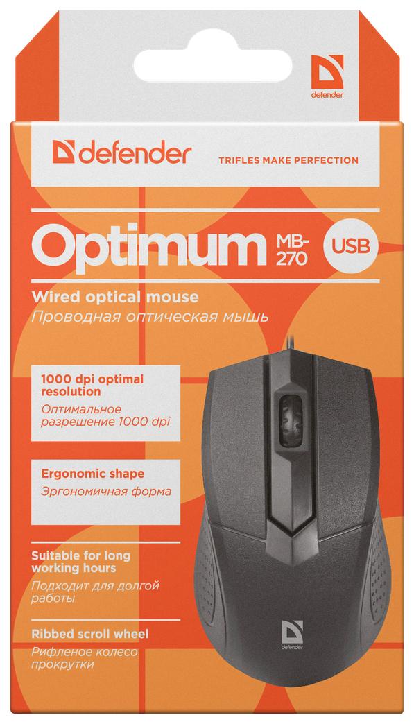 Проводная мышка Defender Optimum MB-270 Black (52270)