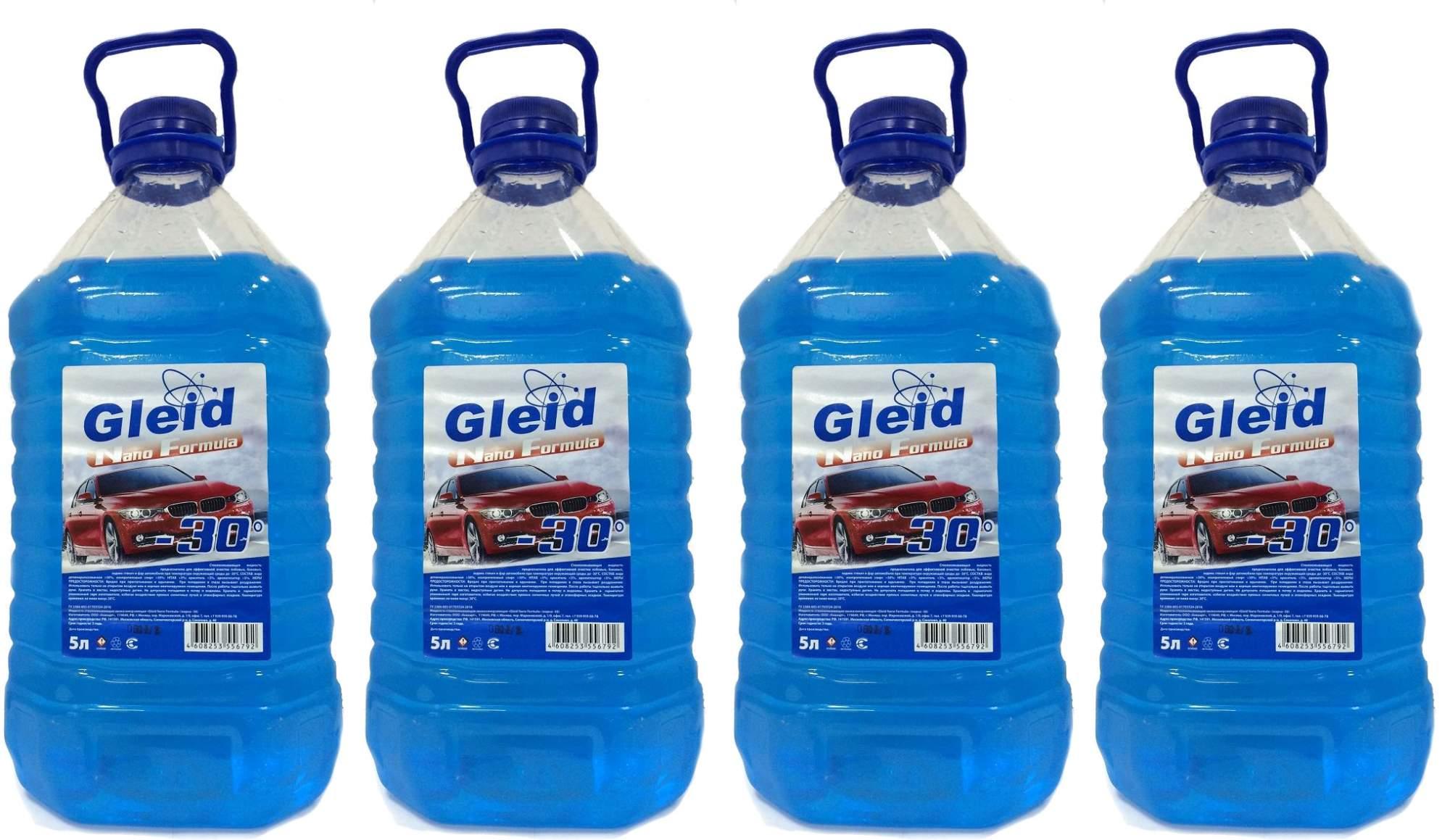 Жидкость стеклоомывателя Зимняя Gleid -30°C 5л gleid_4, 4шт