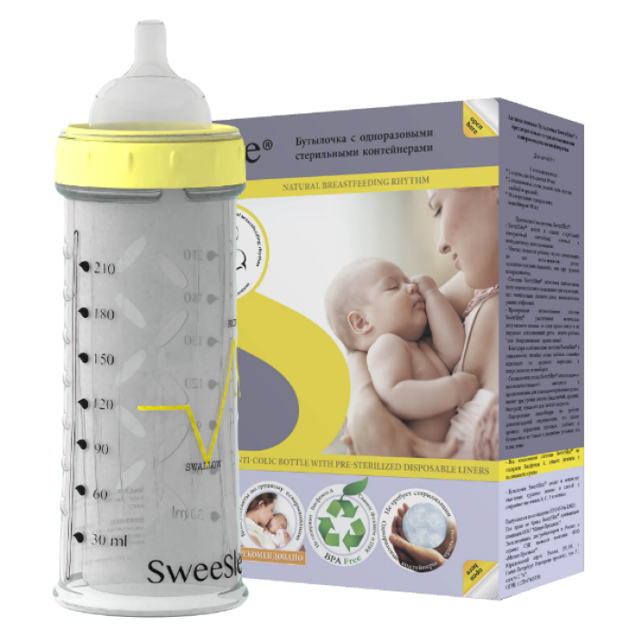 Детская бутылочка SweeSlee С одноразовыми контейнерами 210 мл